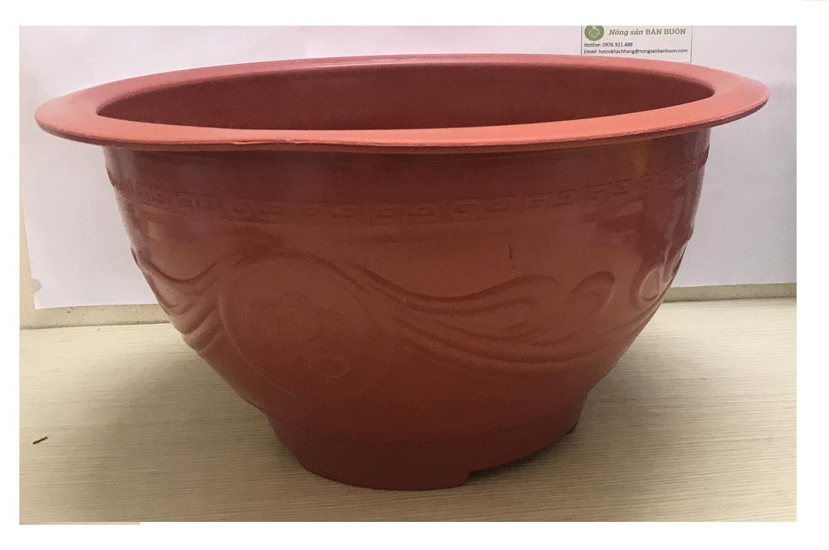2 Châu Nhựa Trồng Cây Bình Thuận Plastics Hình Tròn PLT380 Màu Đỏ