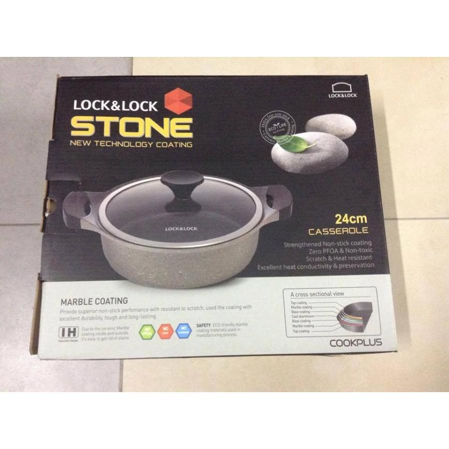 Nồi đá Lock&Lock Stone 2 tay cầm LCA6242D 24cm