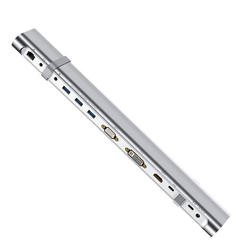 Đế chuyển đổi Type-C sang cổng USB 3.0  + Thẻ SD / TF đọc + Gigabit Lan + Audio (mic + tai nghe) + VGA + HDMI + DVI, Type-C cho Macbook màu Bạc Ugreen TC40373MM131 Hàng chính hãng.
