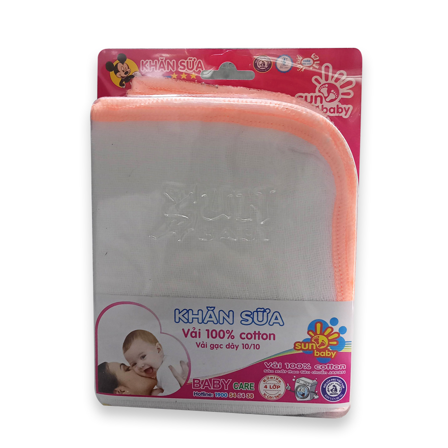 Combo 10 khăn sữa dày vĩ trung (4 lớp) 100% cotton giúp hút ẩm và thân thiện với làn da cho bé C30VD_SUNBABY