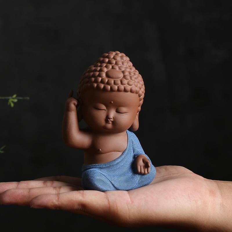 Tượng Phật Adida gốm tử sa (xanh2) MD 28