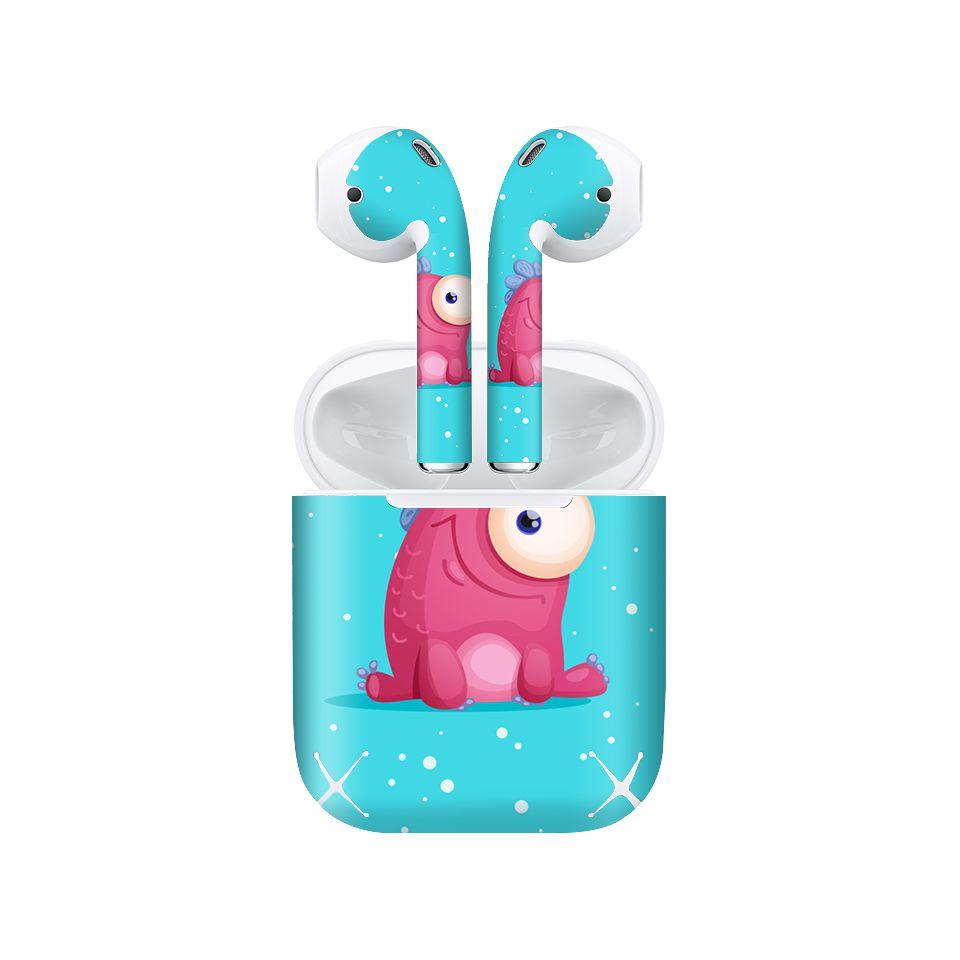 Miếng dán skin chống bẩn cho tai nghe AirPods in hình thiết kế - atk332 (bản không dây 1 và 2)