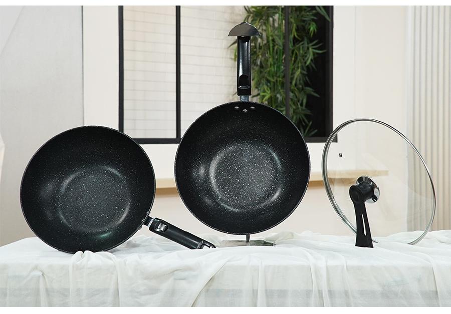 Bộ chảo đá carbon sâu lòng 30cm không kèm 1 nắp thủy tinh 30cm (dùng được tất cả các loại bếp)