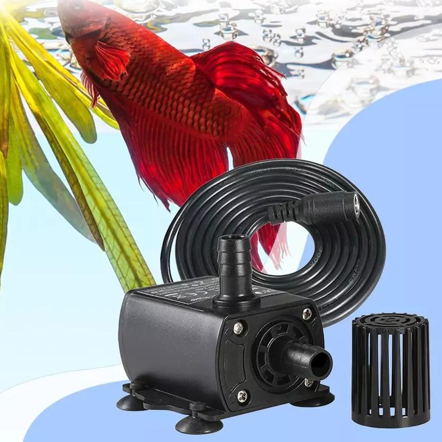 Bơm Bể Cá Mini Chìm 400L/h Không Chổi Than, Siêu Êm, Có Điều Chỉnh 4 Tốc Độ Bơm, Mức Nâng Nước 4m (12V/6W DC) Cho Hồ Bể Cá Cảnh/ Hồ Thủy Sinh/ Thủy Canh (Không Kèm Adaper DC) Mai Lee