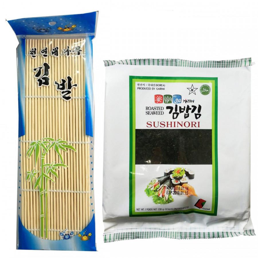 Combo Mành cuốn Kimbap, Sushi + Rong biển cuộn Kimbap Garimi 23g cao cấp Hàn Quốc