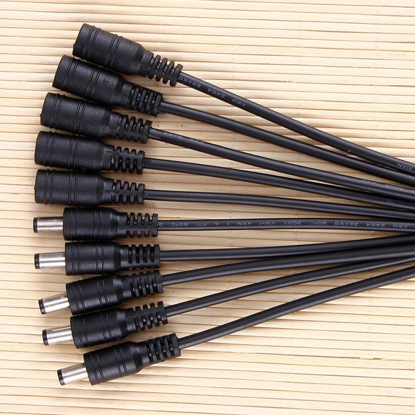 Bộ 10 dây jack cắm nguồn điện DC đuôi đực cái