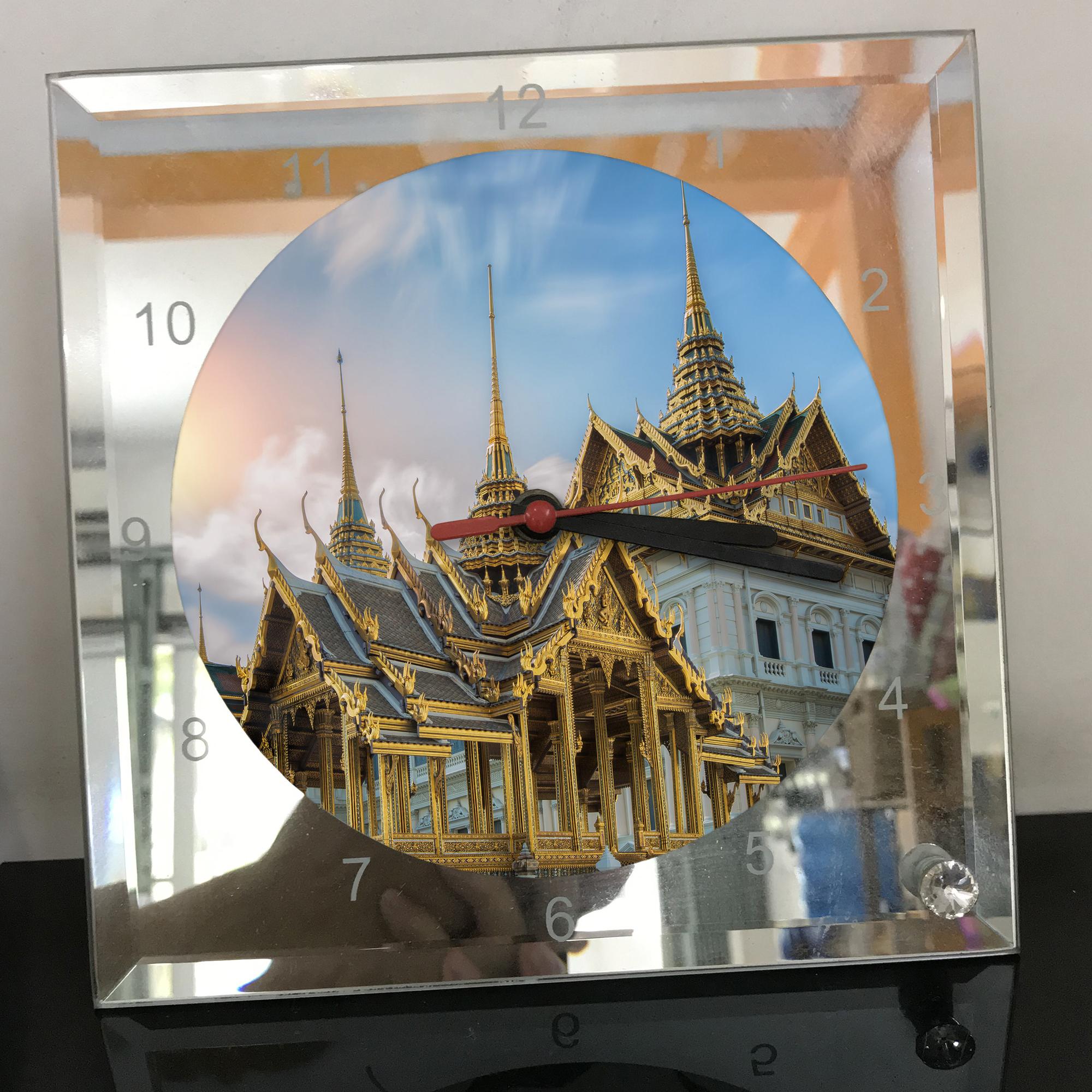 Đồng hồ thủy tinh vuông 20x20 in hình Temple - đền thờ (89) . Đồng hồ thủy tinh để bàn trang trí đẹp chủ đề tôn giáo