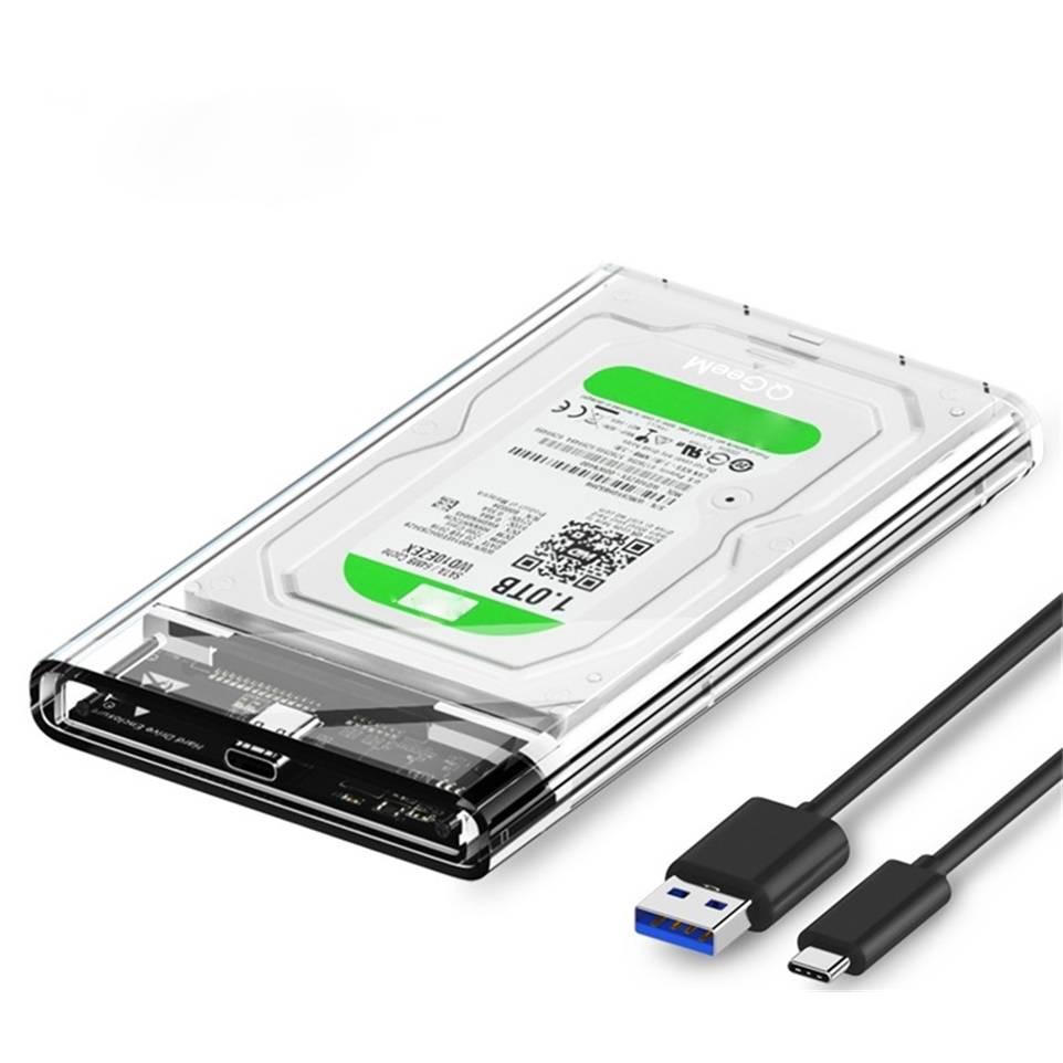 """Hộp đựng ổ cứng HDD/SSD 2.5"""" QGeeM Gen2 cổng USB C/3.1, Type C to SATA SATA I II III, PS4 hỗ trợ UASP tốc độ cao 6Gbps kèm cáp Type C to USB A-Hàng Chính Hãng"""