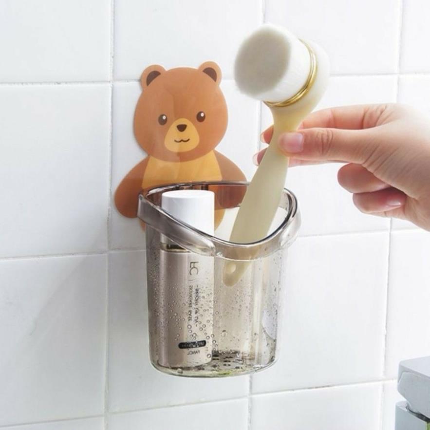 Cốc Đựng Bàn Chải, Kem Đánh Răng Hình Gấu Cute Dính Tường