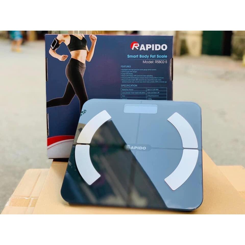 Cân sức khỏe thông minh RAPIDO RSB02-S (Có bluetooth) - Màu xanh - Cân điện  tử Thương hiệu Rapido