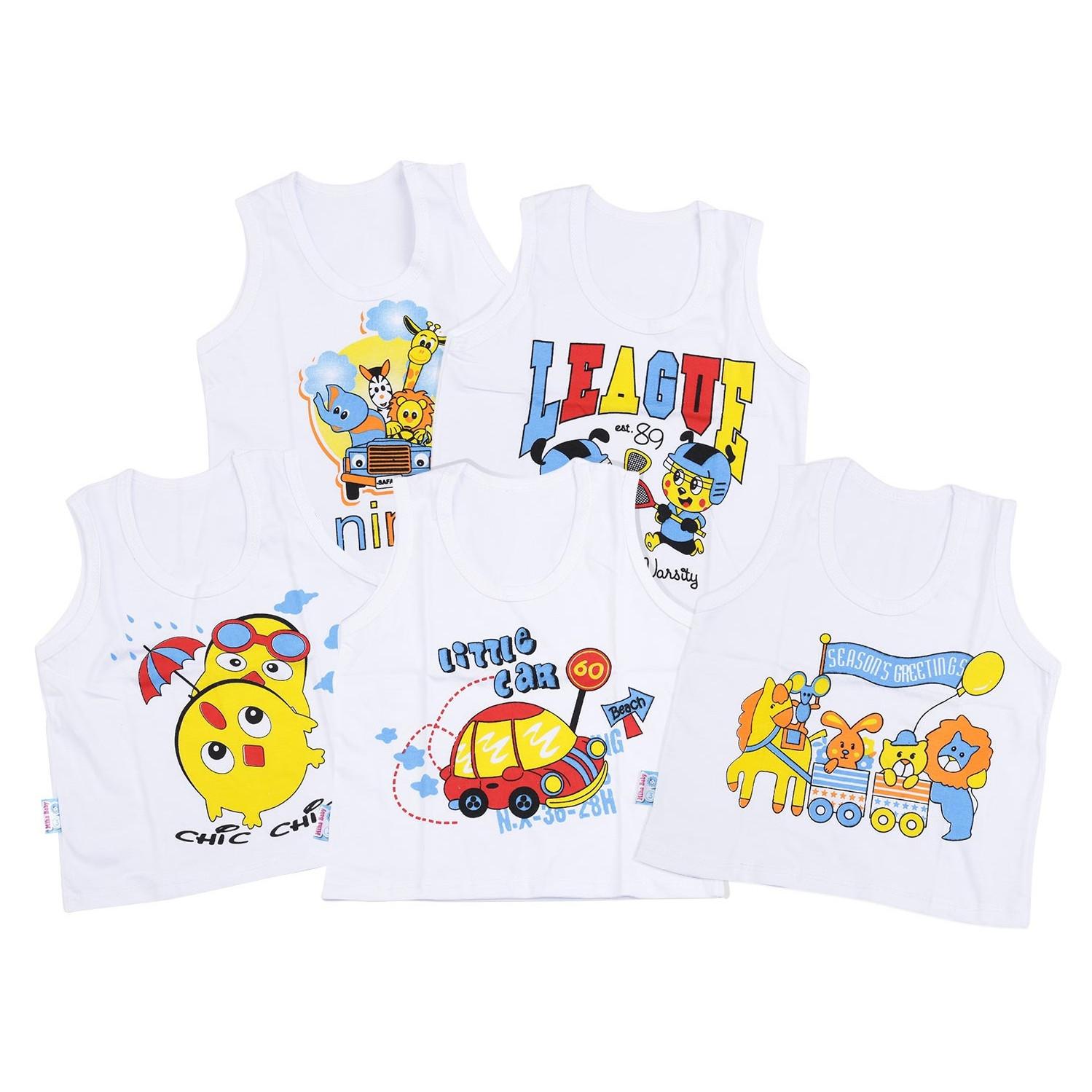 Combo 5 áo ba lỗ trắng cho bé(3-15kg)