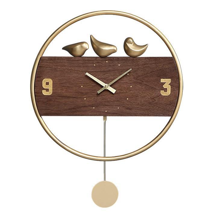 Đồng hồ treo tường quả lắc phong cách cổ điển, đơn giản, mặt đồng hồ gỗ & khung kim loại trang trí nhà đẹp & quà tân gia