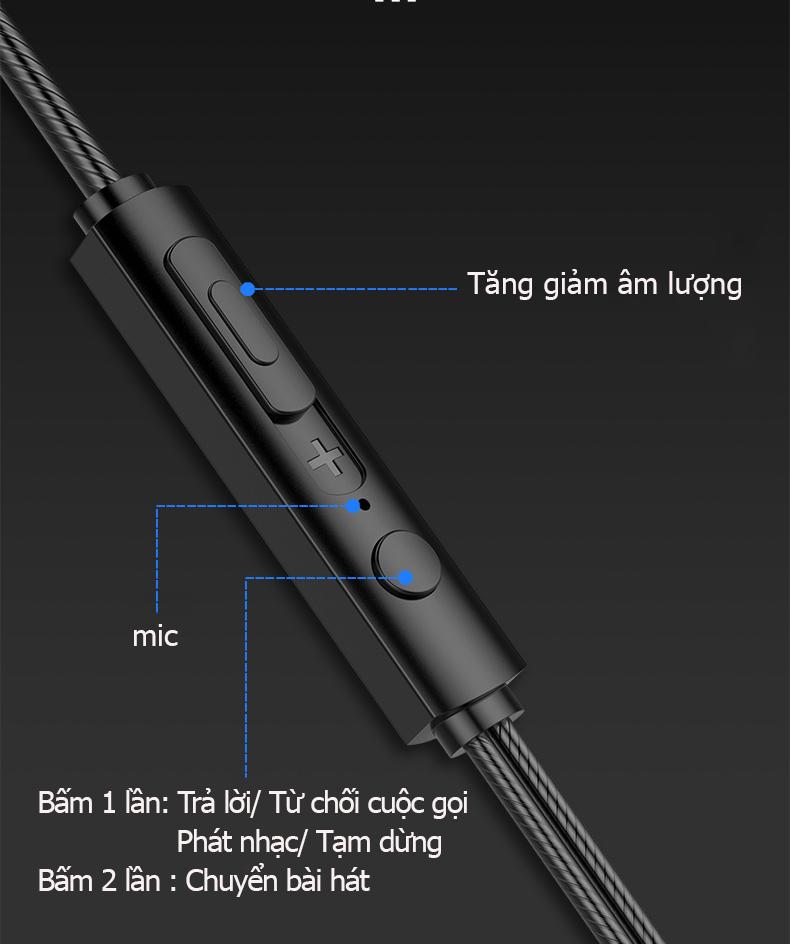 Tai nghe có dây nhét tai Q21 âm thanh toàn cảnh 360 độ chân thực, sử dụng được với tất cả các dòng điện thoại có chân cắm tai nghe tròn 3.5