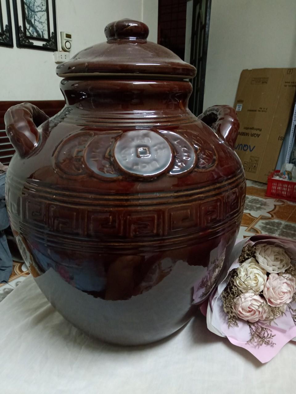 Chum đựng rượu gạo gốm sứ Bát Tràng loại 20L