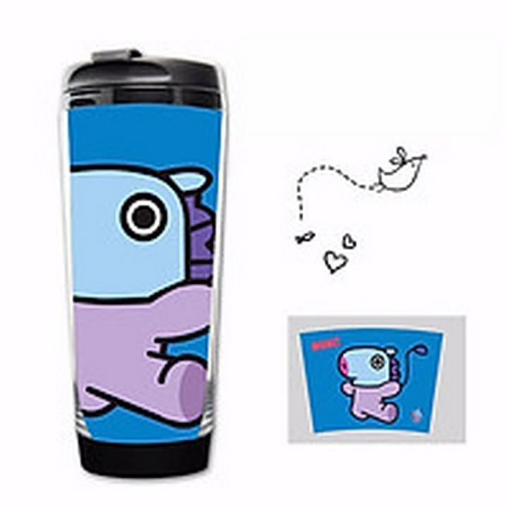 (hoạt hình) Bình nước BTS nhựa có nắp in hình chibi