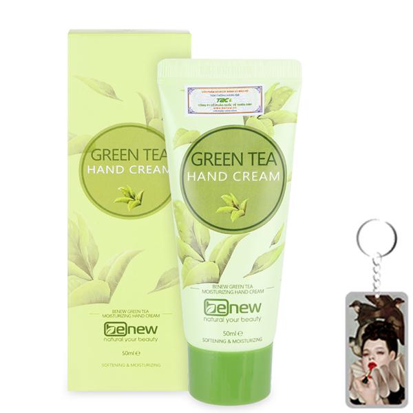 Kem dưỡng da tay trà xanh dịu nhẹ Benew Green Tea Hand Cream Hàn Quốc 50ml + tặng Móc khoá