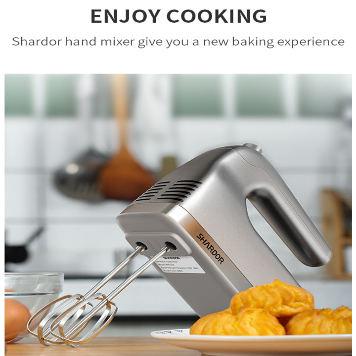 Máy đánh trứng và làm bánh cầm tay cao cấp Shardor HM315S Công suất: 350W Có 5 tốc độ đánh - HÀNG NHẬP KHẨU