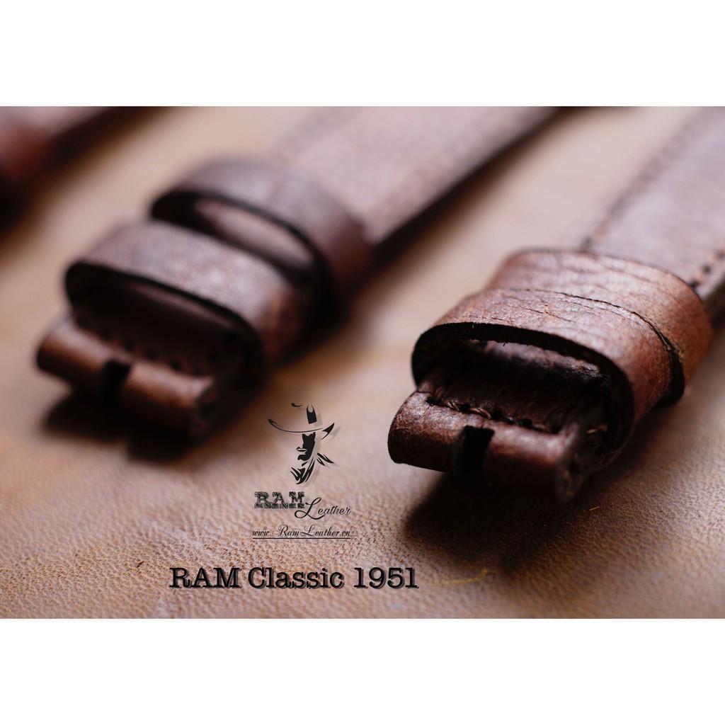 TẶNG BỘ 3 PHỤ KIỆN - DÂY ĐỒNG HỒ DA BÒ NÂU MẬN - RAM CLASSIC 1951