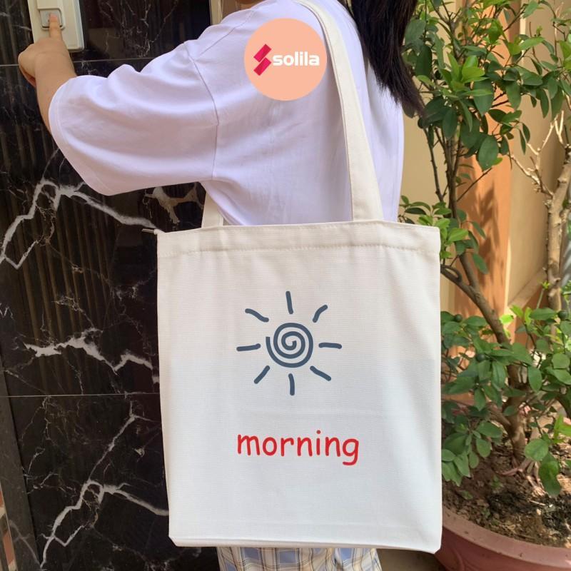 Túi tote vải canvas có khóa kéo miệng túi và túi phụ bên trong in hình Mặt Trời Morning mềm đẹp cho nam nữ đi học đi làm