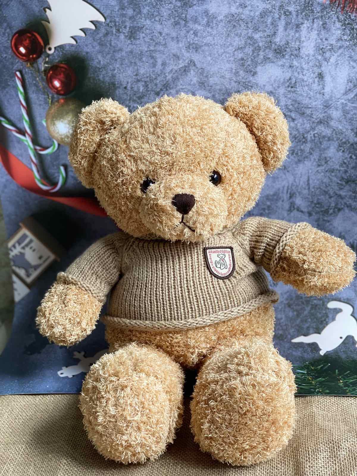 Gấu Bông Teddy Mặc Áo Len Be - 45cm