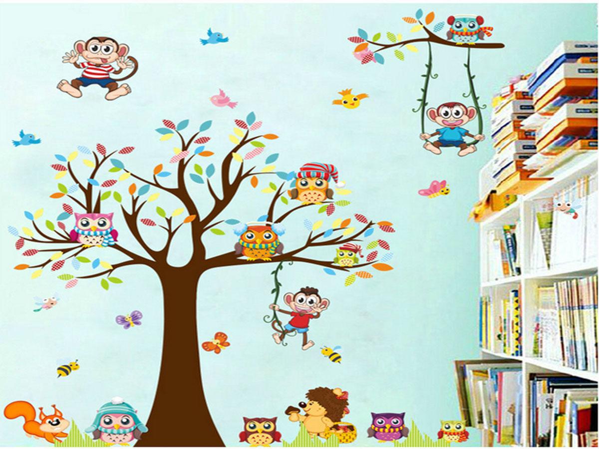 decal dán tường cho bé -cây khỉ ngộ nghĩnh xl8192