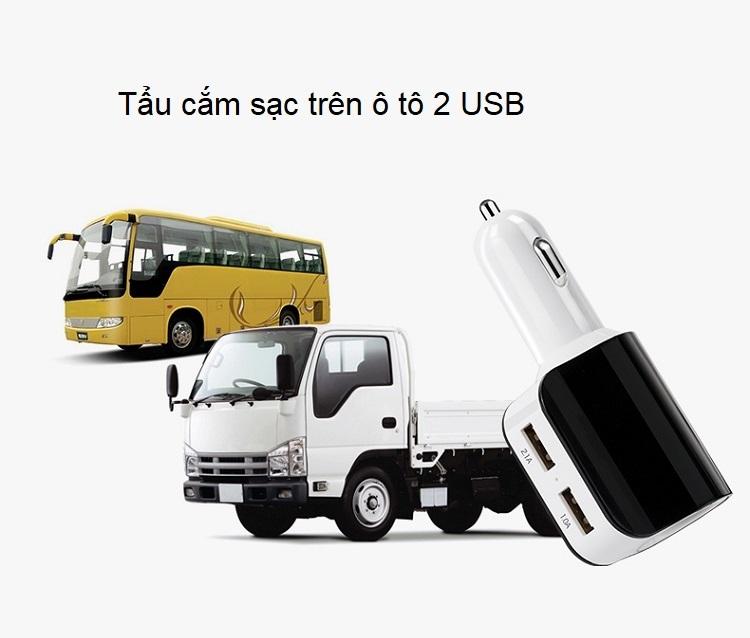 Tẩu cắm sạc 2 cổng USB có chip thông minh, hỗ trợ sạc nhanh và tản nhiệt tốt (Tặng quạt nhựa mini cắm cổng USB-Màu ngẫu nhiên)