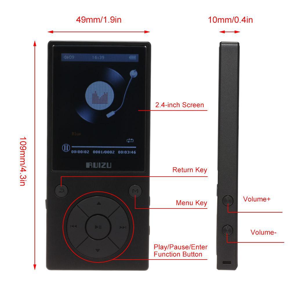 Máy Nghe Nhạc Mp3 Lossless Bluetooth 4.0 Ruizu D11 - Hàng Chính Hãng