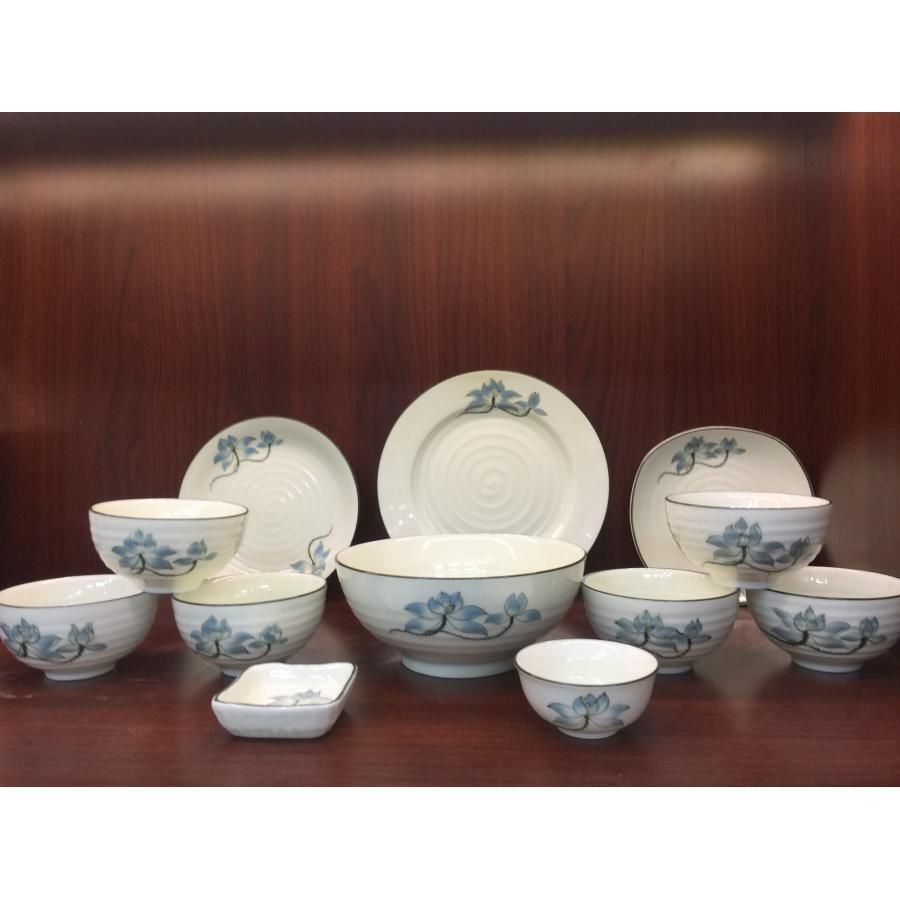 Bộ bàn ăn 12 sản phẩm Bát Tràng vẽ sen cao cấp
