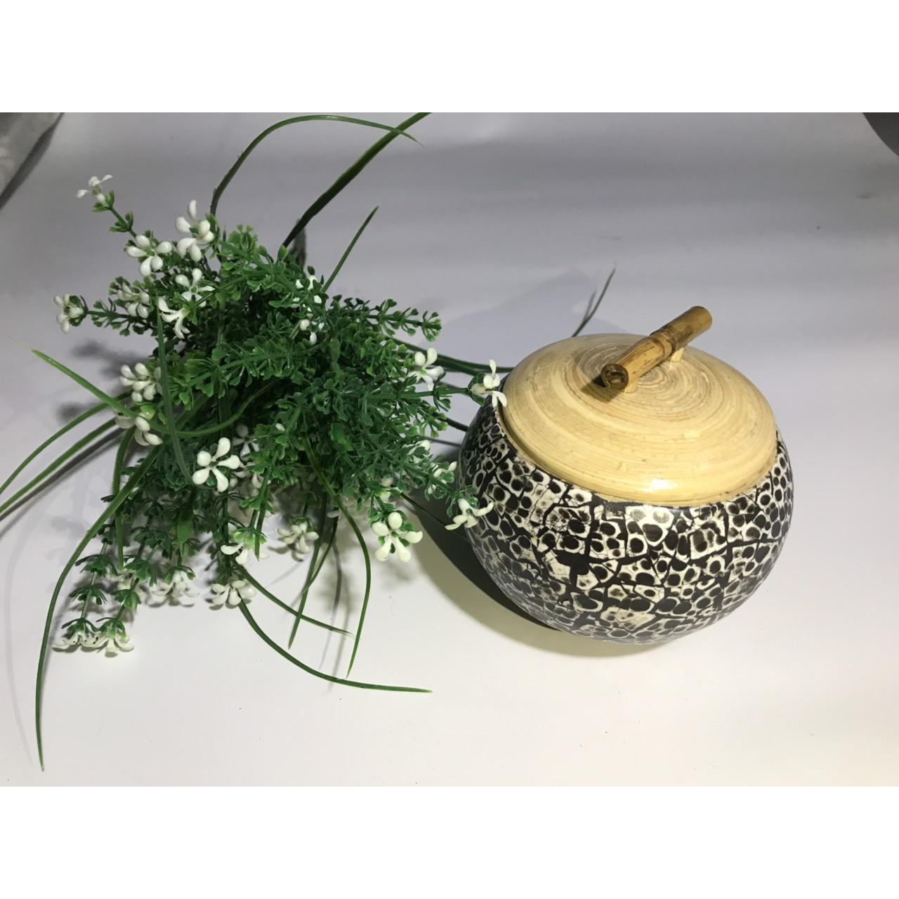 Hũ tre khảm trứng đựng mứt kẹo, hạt hướng dương, trà xanh rửa được bằng nước (màu đen)
