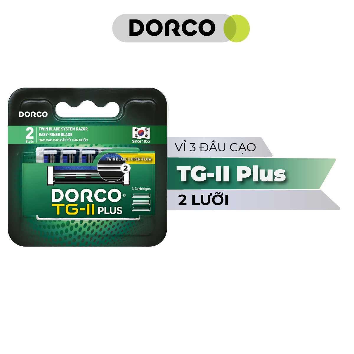 Vỉ 03 Đầu Dao Cạo Râu 2 Lưỡi Dorco TG-II Plus System TNA 3030-3B