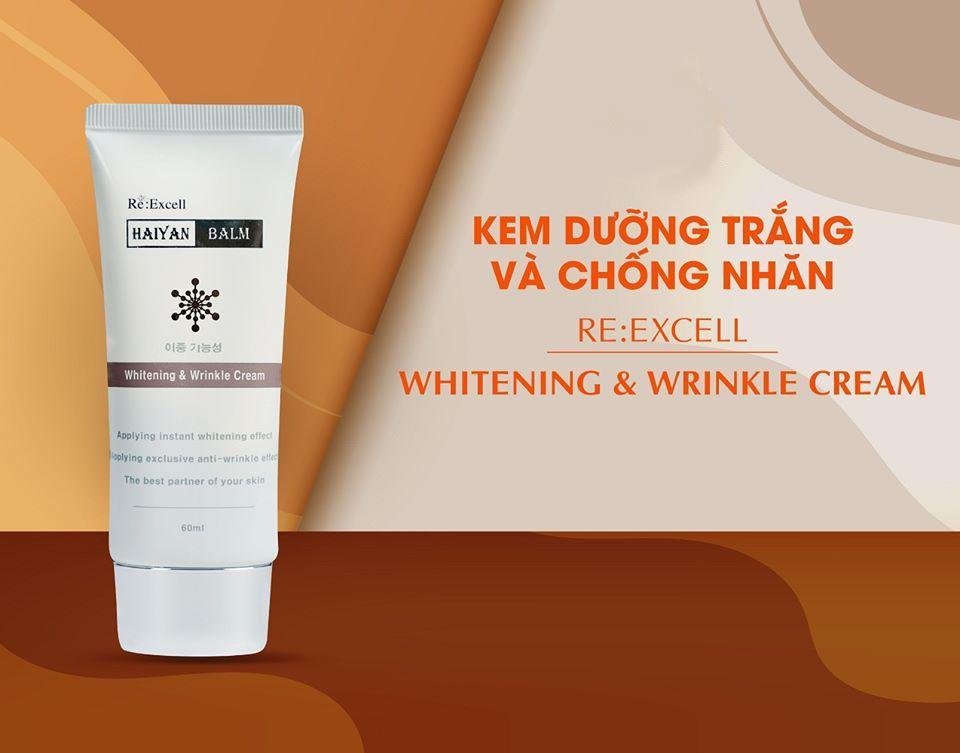 Kem Dưỡng Trắng chống nhăn Re:Excell Haiyan Balm Whitening & WrinKle Cream R&B xuất sứ Hàn Quốc, chiết xuất 100% từ thiên nhiên, dưỡng ẩm, làm trắng, ngừa lão hóa, nâng tone màu da trắng mịn, mờ đốm nâu sạm, làm đều màu da, 60ml