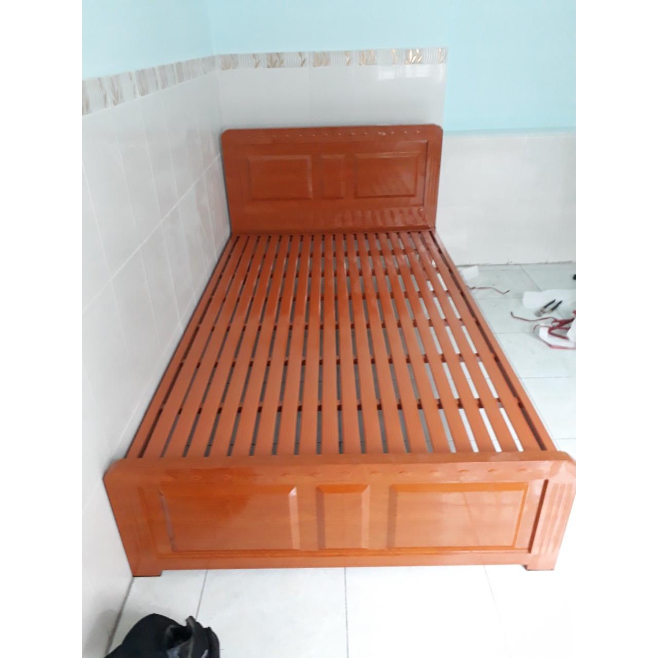 Giường sắt kiểu gỗ rộng 1m4 LG102-14