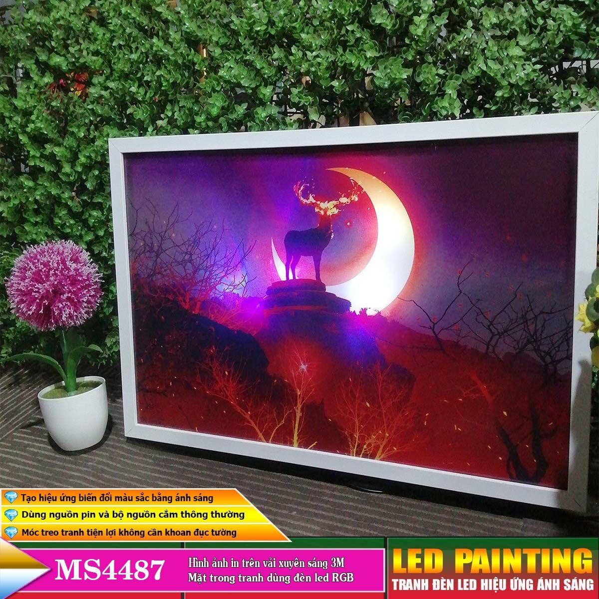 Tranh treo tường đèn led trang trí phòng khách, phòng ngủ hiệu ứng ánh sáng. KT: 60 x 40cm-MS:4487L6