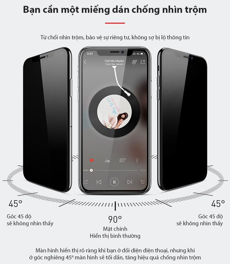 [Miếng dán màn hình] Kính cường lực chống nhìn trộm dành cho Iphone 6/7/8/X/11 6Plus 7Plus 8Plus XS MAX Iphone 11 Pro Max chất lượng