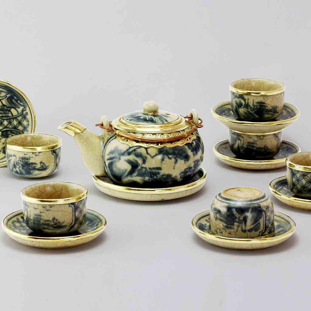 Bộ ấm chén uống trà men rạn bọc đồng dáng tròn gốm sứ Bát Tràng (bộ bình uống trà, bình trà)