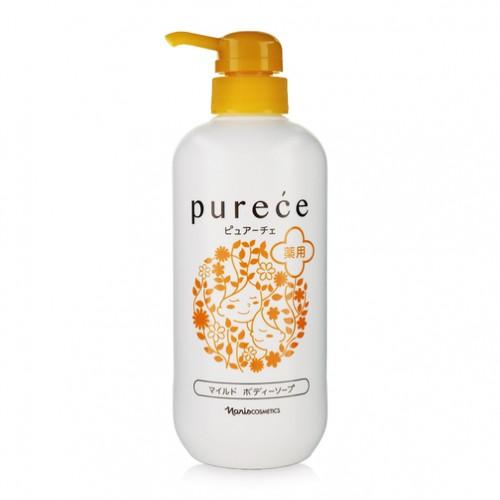 Sữa tắm dưỡng ẩm Naris Purece Medicated Body Soap Nhật Bản 650ml + Gương mini siêu cute