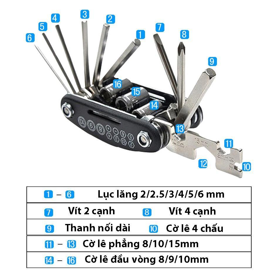 Dụng cụ sửa chữa đồ dùng, xe đạp đa năng 16 món tiện dụng