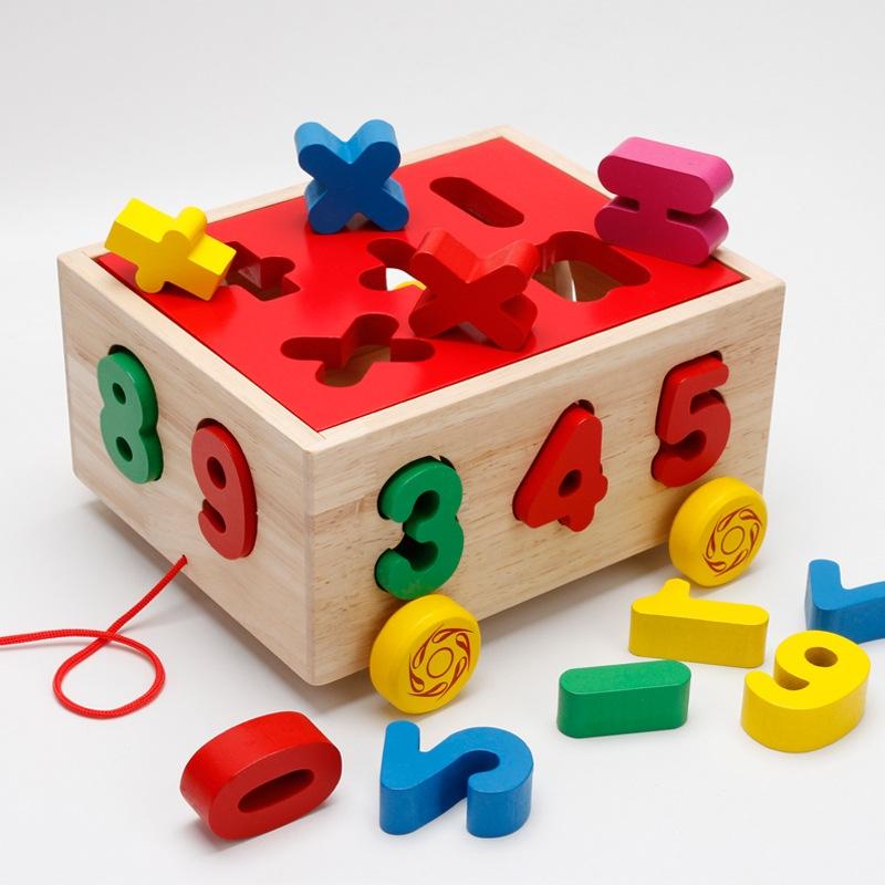 Hộp trí tuệ kéo xe thả hình thả số nhận biết số hình dạng