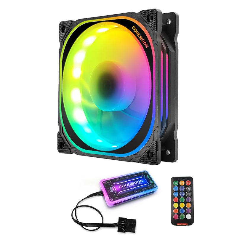 Bộ 1 quạt, Fan tản nhiệt case Coolmoon FS Led RGB - Hàng Nhập Khẩu
