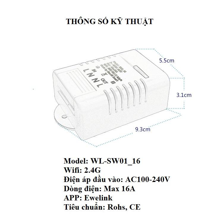 Công tắc điều kiển từ xa wifi SW01-16A (Tặng kèm 01 nút kẹp giữ dây điện)