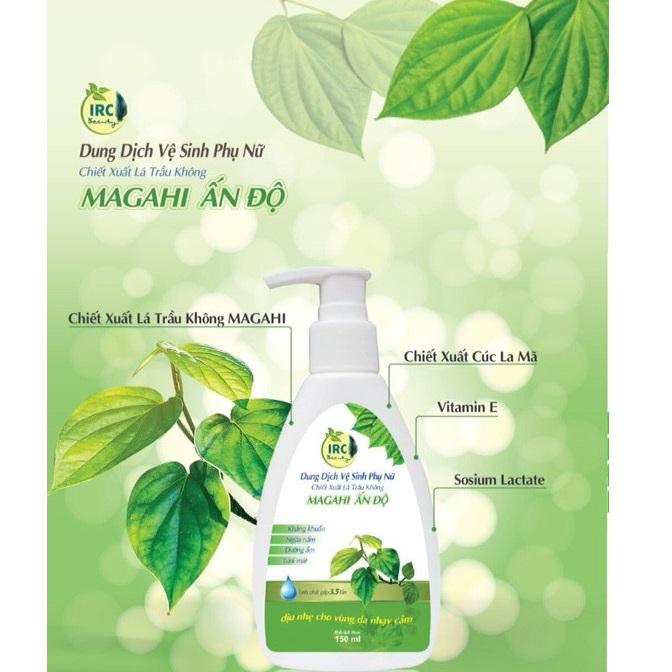 Dung dịch vệ sinh phụ nữ trầu không IRC MAGAHI Ấn Độ khử mùi, ngừa nấm, kháng viêm, dưỡng ẩm, tươi mát 150ml