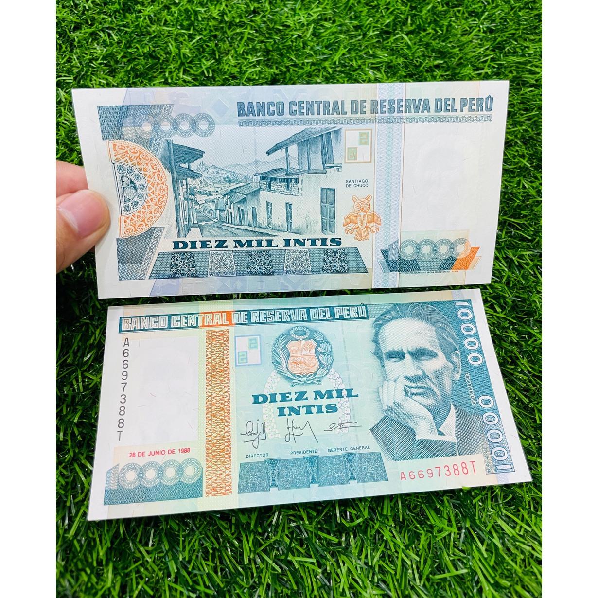 Tiền Peru 10000 Intis xưa 1988, tiền Nam Mỹ, mới 100% UNC, tặng túi nilon bảo quản The Merrick Mint