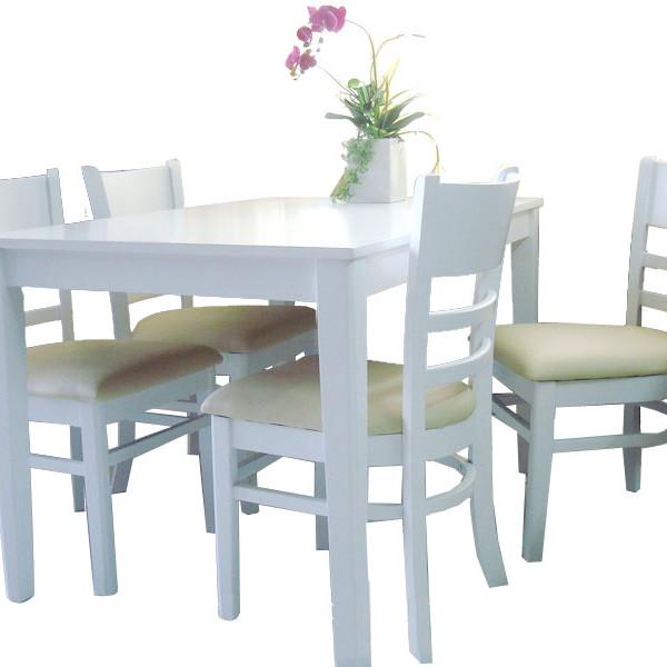 Bộ bàn ăn cabin 4 ghế (trắng)