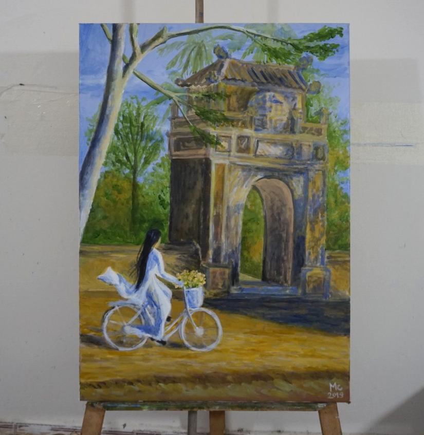 Tranh sơn dầu sáng tác: ĐI QUA