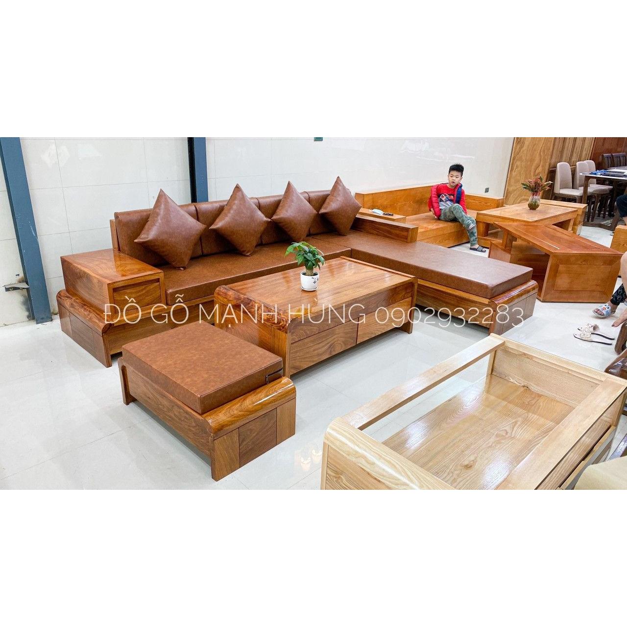 Bộ bàn ghế sofa góc gỗ hương 2m8m x 2m có nệm