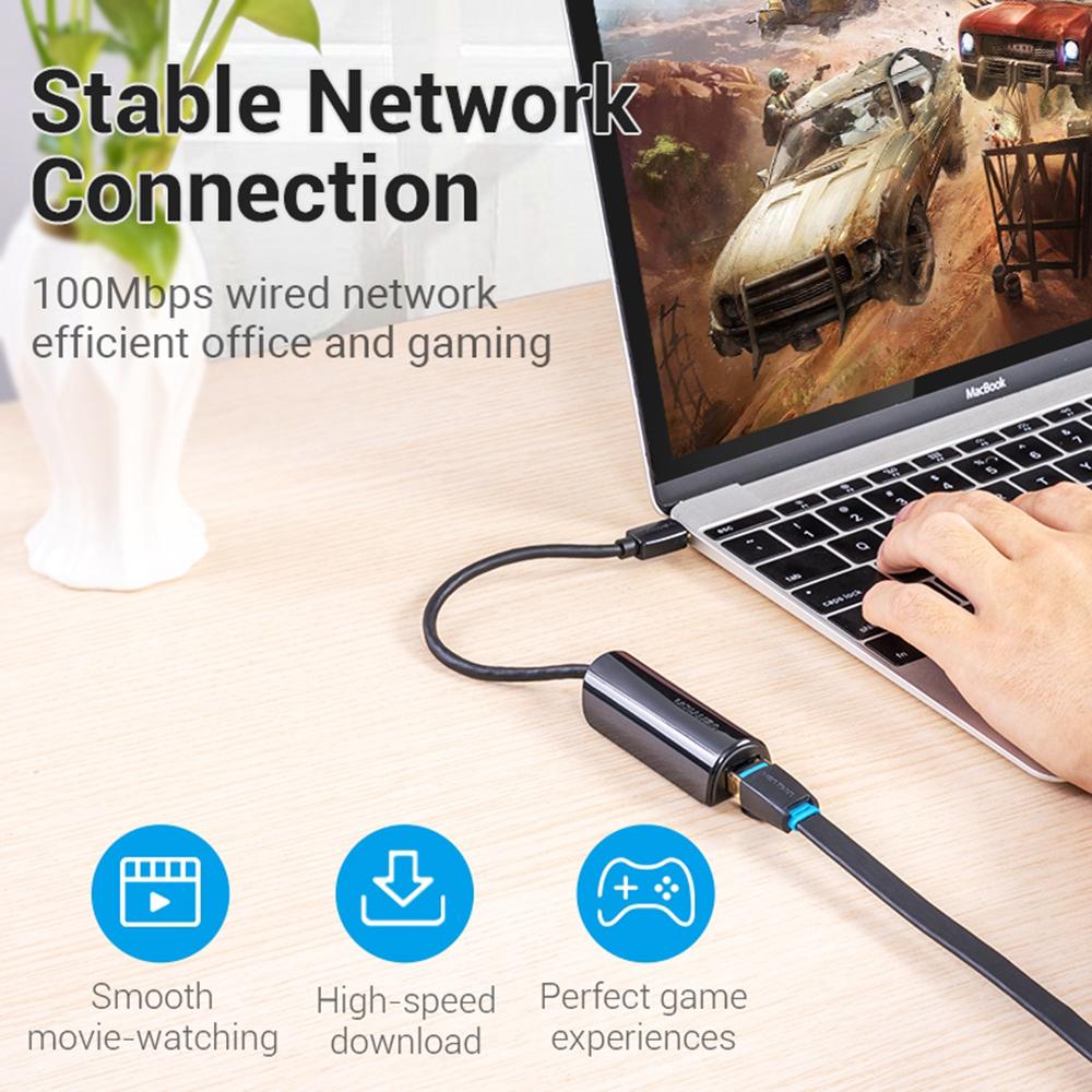 Cáp chuyển USB Type C to Gigabit Ethernet 10/100/1000 Vention CFBBBB - Hàng chính hãng