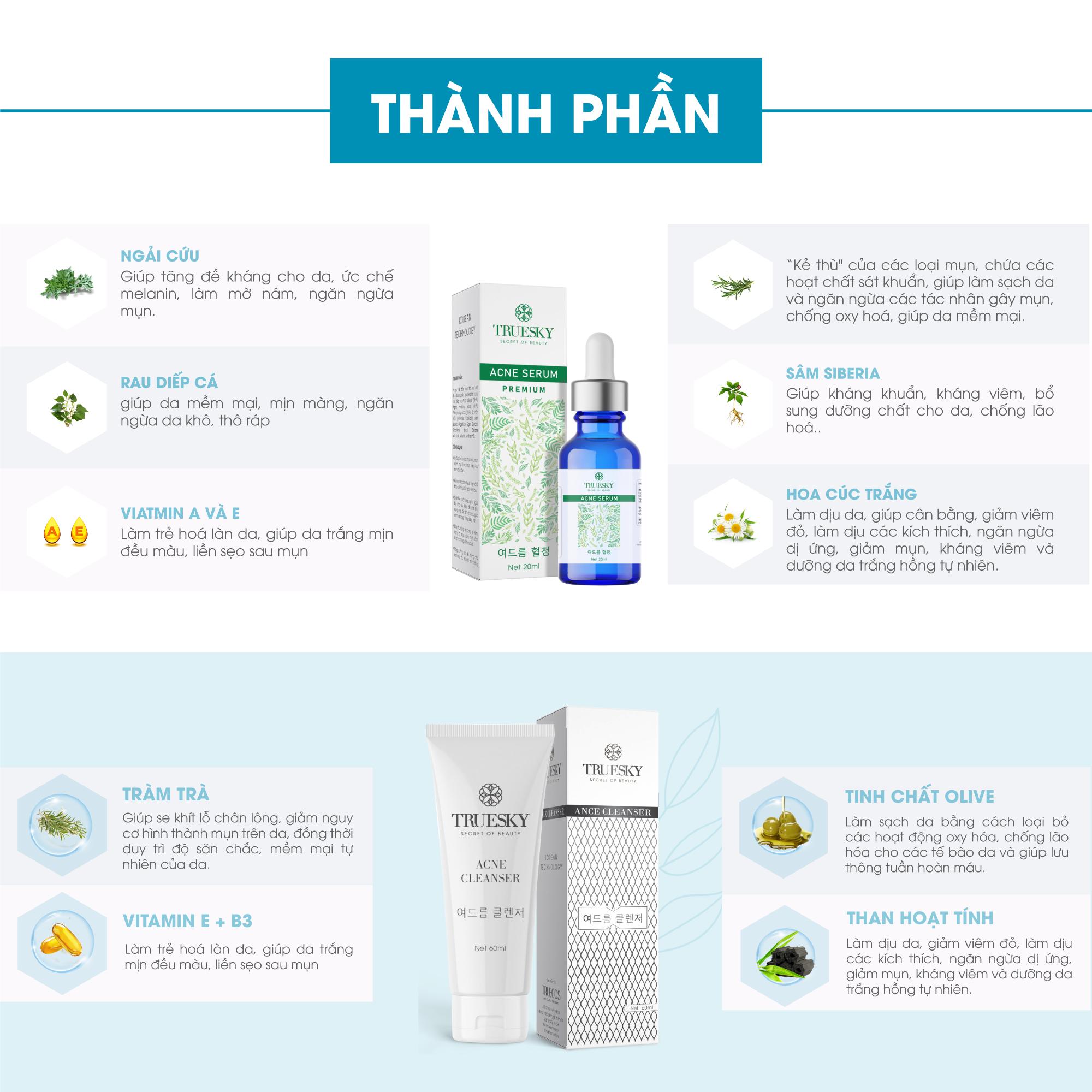 Bộ ngừa mụn da mặt Truesky Premium gồm 1 serum ngừa mụn tràm trà 20ml + 1 sữa rửa mặt tạo bọt than hoạt tính 60ml