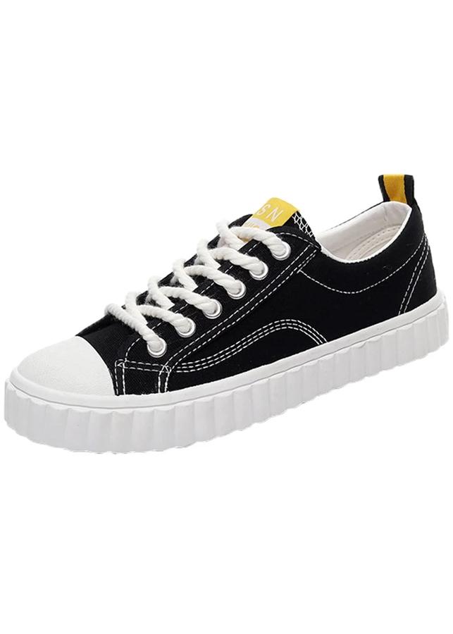 Giày Sneaker Vải Buộc Dây Kiểu dáng classic
