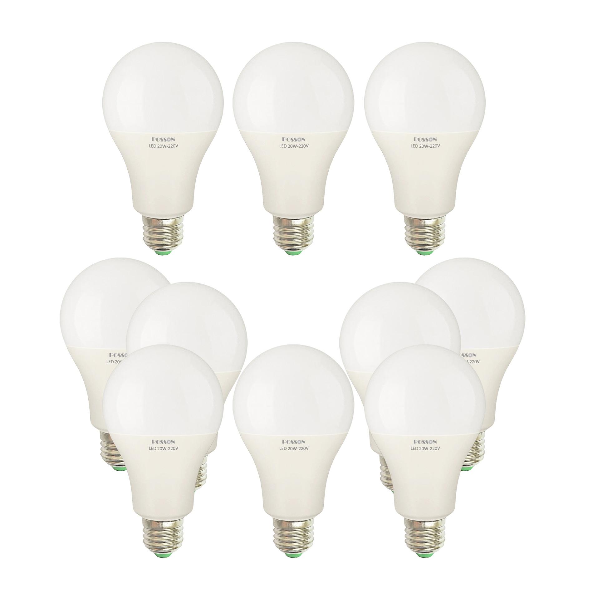 10 Bóng đèn Led 20w A80 tròn bup bulb kín chống nước tiết kiệm điện siêu sáng Posson LB-H20x