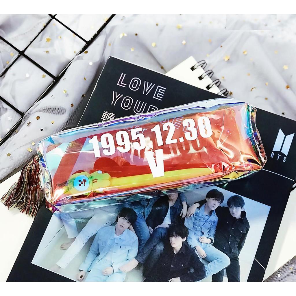 Túi bút  BTS in tên ngày sinh các thành viên trong suốt